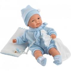joel bambola 38 cm - corpo morbido con coperta azzurra