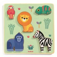 emilion - puzzle in legno animali della savana in rilievo