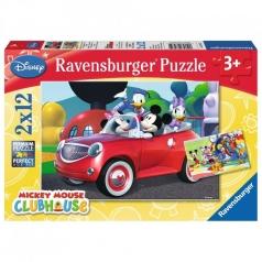la casa di topolino - puzzle 2x12 pezzi