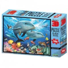 puzzle 3d 500 pezzi - delfini sotto le onde