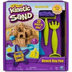 kinetic sand - beach day fun kit con formine e attrezzi