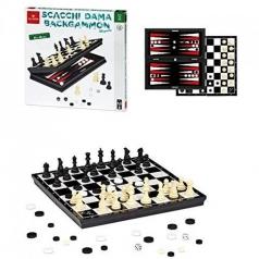 set scacchi dama e backgammon magnetici