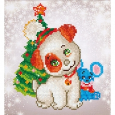 christmas pup and mouse - diamond dotz beginner dd3.012