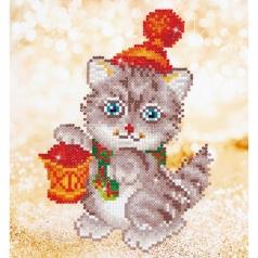 christmas kitten glow - diamond dotz beginner dd3.013