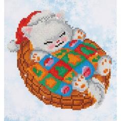 snug christmas kitty - diamond dotz beginner dd3.017