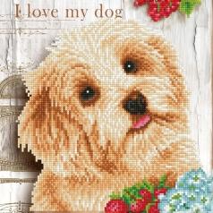 i love my dog - diamond dotz intermediate dd5.049 30.5x30.5cm