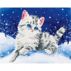 kitten in the snow - diamond dotz intermediate dd5.006 32.5x27.9cm