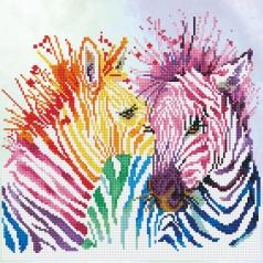 rainbow zebras - diamond dotz intermediate dd8.005 40x40cm