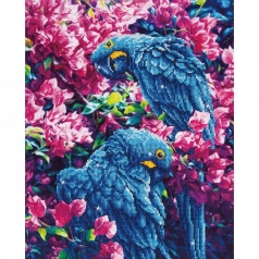 blue parrots - diamond dotz intermediate dd10.002 42x52cm