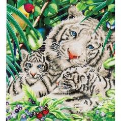 white tiger and cubs - diamond dotz intermediate dd10.006 52x52cm