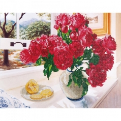 roses by the window - diamond dotz intermediate dd12.013 57x49cm
