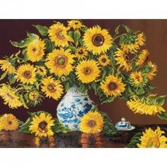 sunflowers in china vase - diamond dotz advanced dd13.006 71x56cm