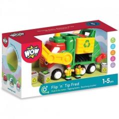 flip 'n' tip fred - camion della spazzatura con 2 personaggi e accessori