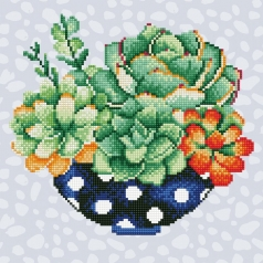 succulent bowl - diamond dotz intermediate 49299 32x32cm