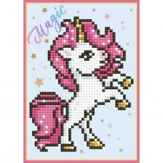 biglietto d'auguri - diamond dotz unicorno criniera rosa su due zampe