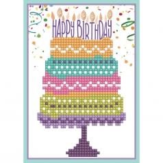 biglietto d'auguri - diamond dotz torta di compleanno