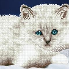 white cat - diamond dotz intermediate 49295 32x32cm