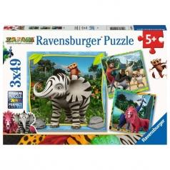 zafari - puzzle 3x49 pezzi