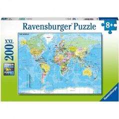mappa del mondo - puzzle 200 pezzi xxl