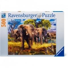 famiglia di elefanti - puzzle 500 pezzi