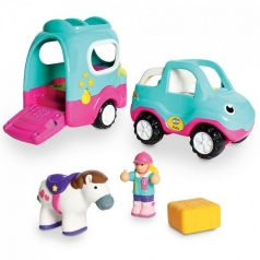 polly's pony adventures - auto e trailer per trasporto cavalli con personaggio e cavallo