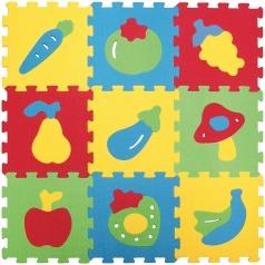 tappetone in gommapiuma colorato con decori frutta