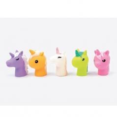 burattini da dita in gomma - 5 unicorni colorati