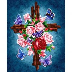 flower cross - diamond dotz intermediate dd9.061 42.2x52.2cm