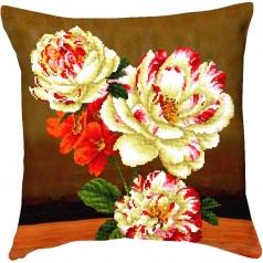 camellia and lilly bouquet - diamond dotz advanced dd16.011 cuscino 45x45cm