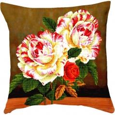 camellia and rose bouquet - diamond dotz advanced dd16.012 cuscino 45x45cm