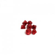 set di dadi opaco rosso nero