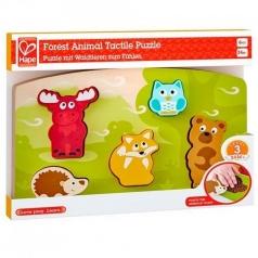puzzle tattile in legno - animali della foresta