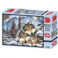 puzzle 3d 500 pezzi - famiglia di lupi