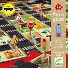 pop to play la citta - puzzle 24 pezzi con segnali stradali in legno