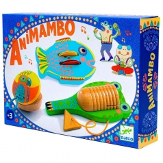 animambo - set 3 pezzi percussioni piatti nacchere guiro