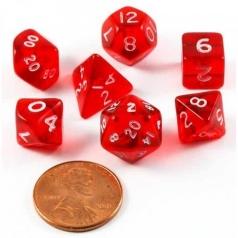 set di dadi mini rosso bianco trasparenti