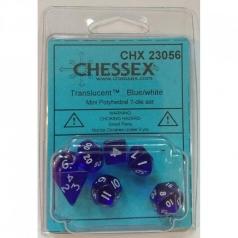 set di dadi mini blu bianco trasparenti