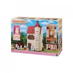 casa dal tetto rosso con torre e gatto persiano