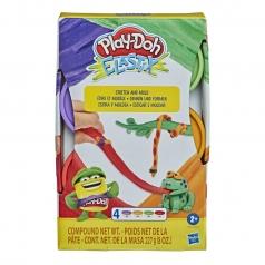 play-doh elastix stretch and mold - 4 barattolini colori classici