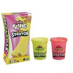 play-doh slime super stretch 2 barattolini giallo e rosa 238g