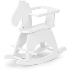 cavallo a dondolo bianco in legno - design moderno