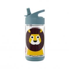 borraccia con cannuccia di silicone - leone - 350 ml