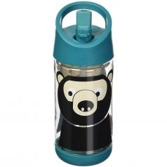 borraccia con cannuccia di silicone - orso - 350 ml