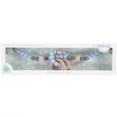 giostrina universale da passeggino blu/grigio con sonaglio - legno naturale e silicone alimentare
