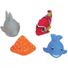 4 personaggi da bagnetto in gomma morbida - animali del mare