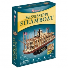 mississipi steamboat - puzzle 3d 142 pezzi