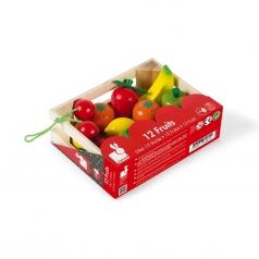 cassetta con 12 frutti in legno