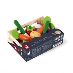 cassetta con 12 verdure in legno