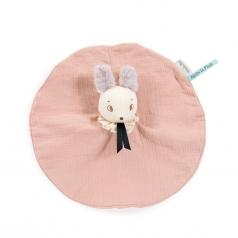 doudou topo brume in mussola di cotone rosa apres la pluie