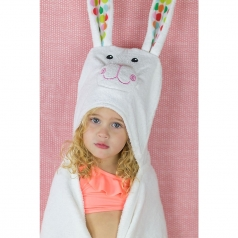 asciugamano bimbi con cappuccio, bella il coniglio - 100% cotone